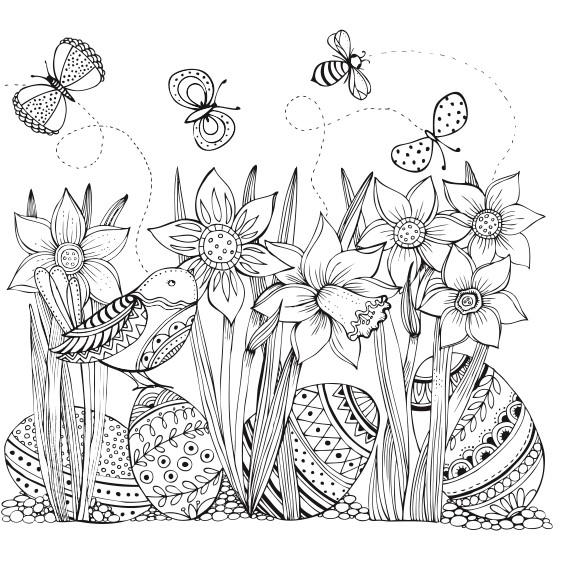 Blumenwiese Ausmalbild Frühlingswiese