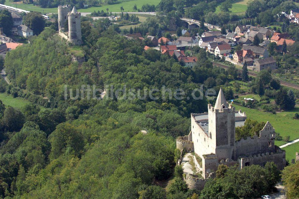 Bad Kösen von oben - Burg Saaleck und Rudelsburg (Bad Kösen)