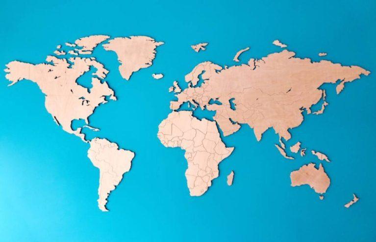 mapa del mundo con las áreas más pobladas y más vacías
