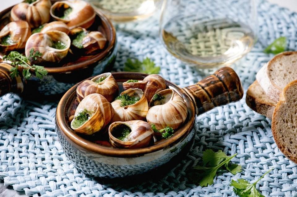 Escargot comida típica de Francia