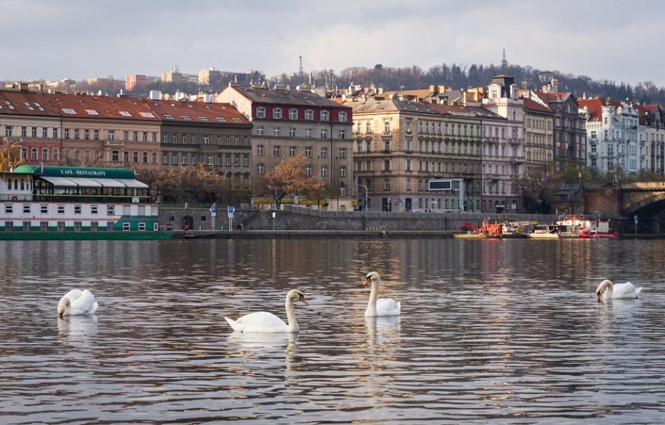 Vista de Praga desde el Rio Moldaba