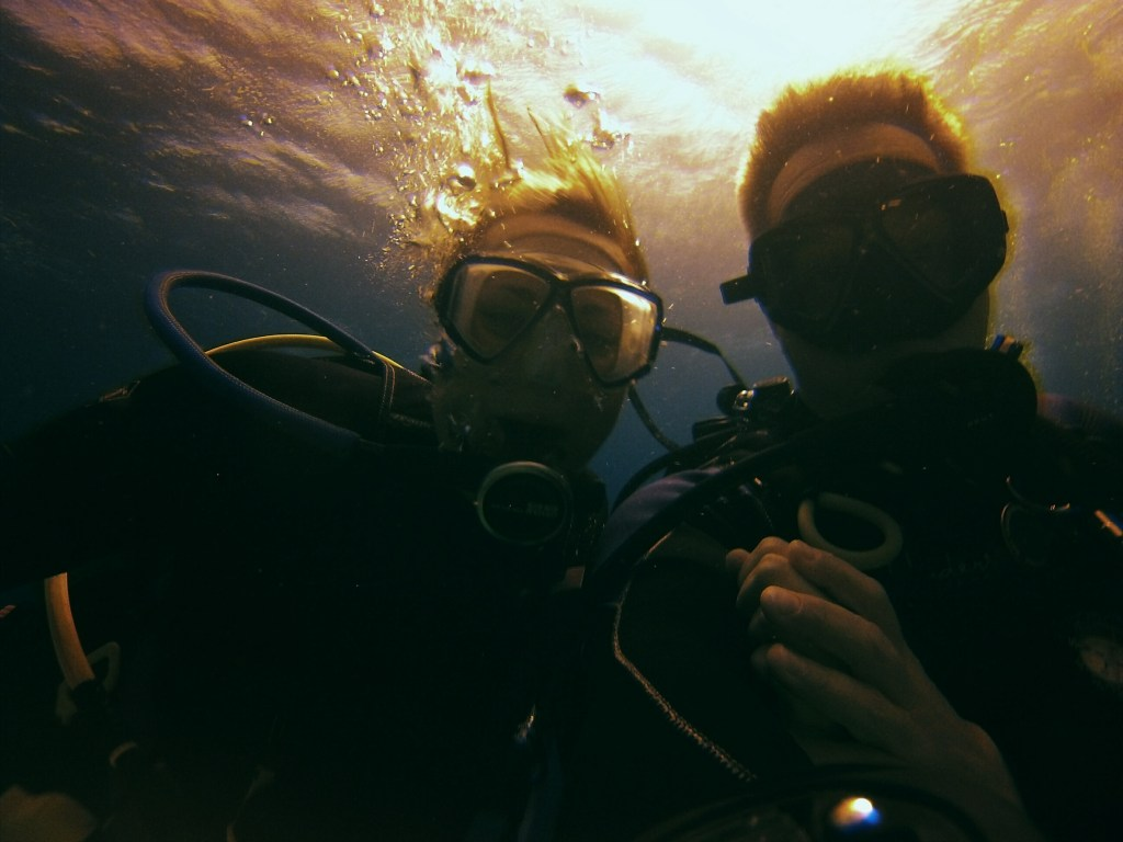 Underwater shot of Mike and Tana scuba diving