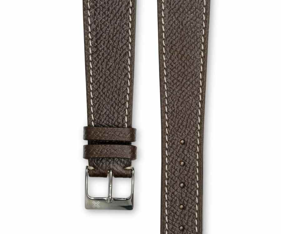 Grained Classic chocolate brown leather watch strap - cream stitching - LUGS brand