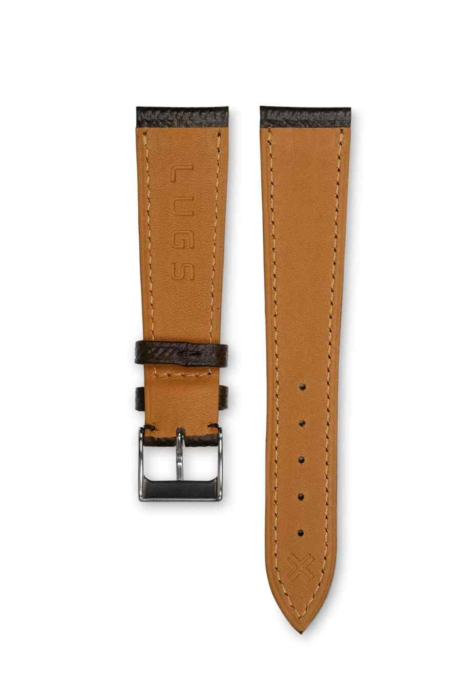 Grained Classic chocolate brown leather watch strap - tone on tone stitching - LUGS brand