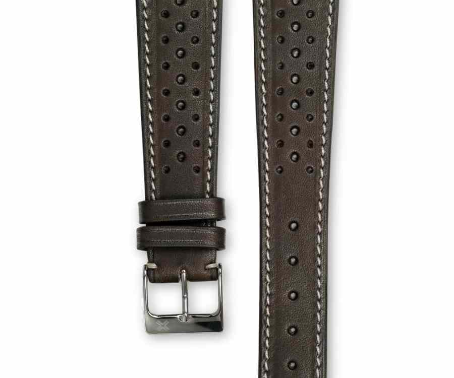 Smooth Racing chocolate brown leather watch strap - cream stitching - LUGS brand