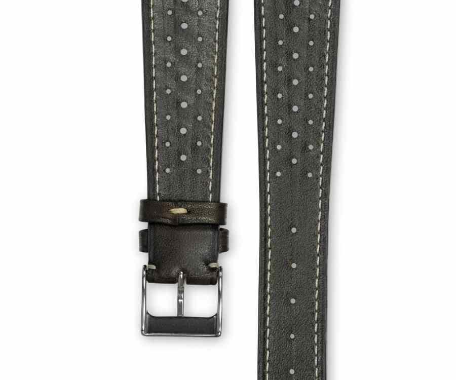 Smooth Racing Barenia chocolate brown leather watch strap - cream stitching - LUGS brand