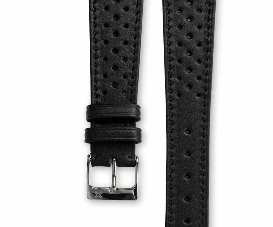 Smooth Racing Barenia deep black leather watch strap - tone on tone stitching - LUGS brand