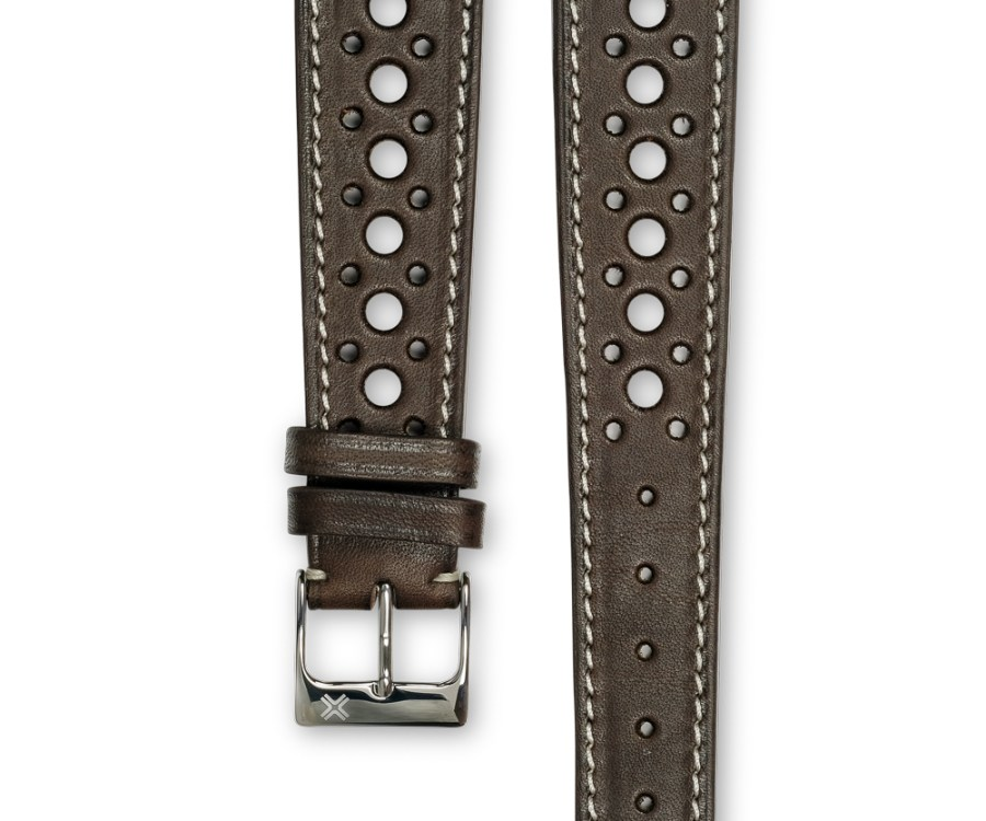 Smooth Rally chocolate brown leather watch strap - cream stitching - LUGS brand
