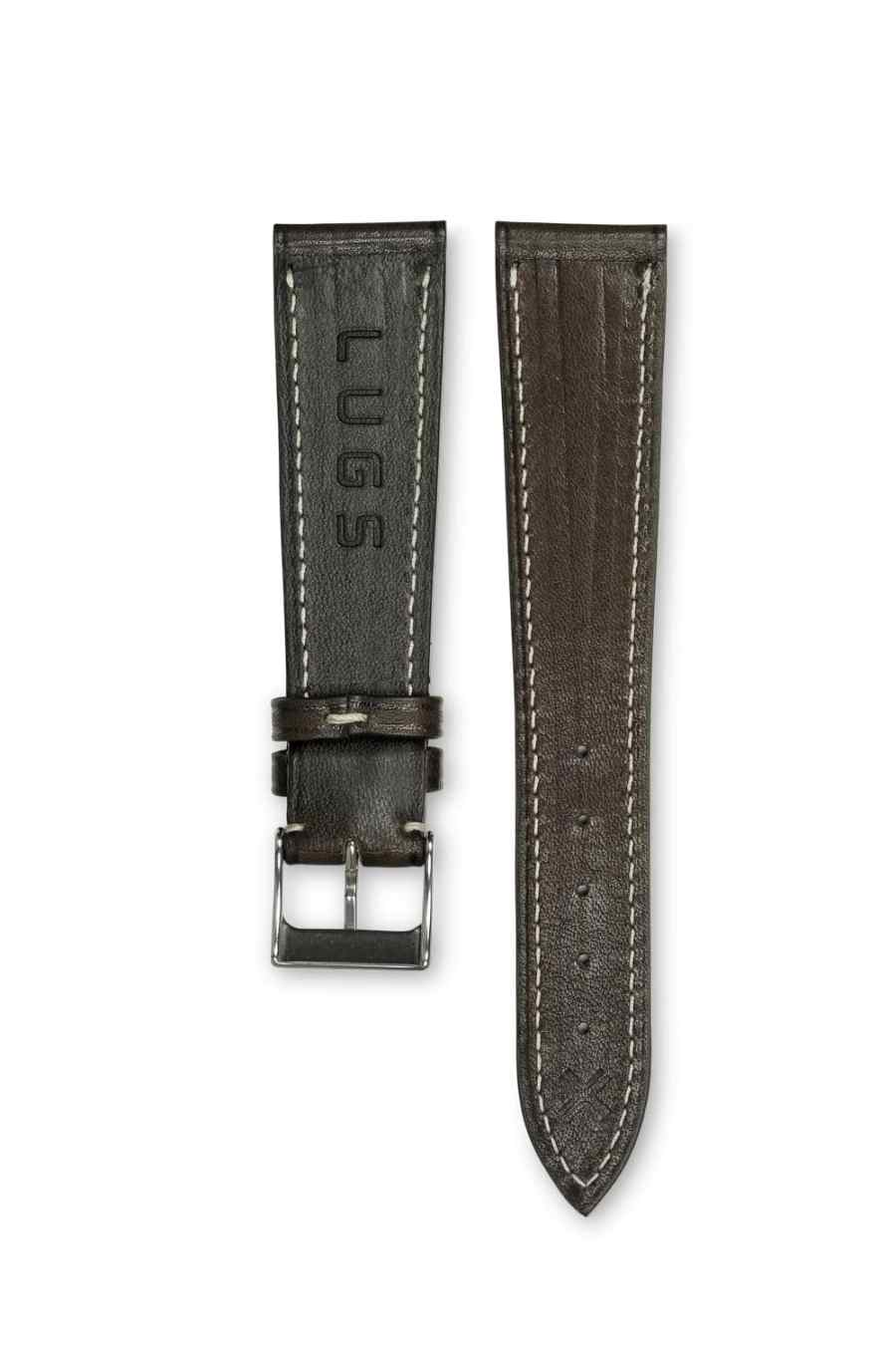 Smooth Classic chocolate brown leather watch strap - cream stitching - LUGS brand