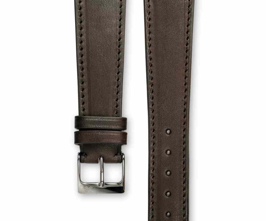 Smooth Classic Barenia chocolate brown leather watch strap - tone on tone stitching - LUGS brand