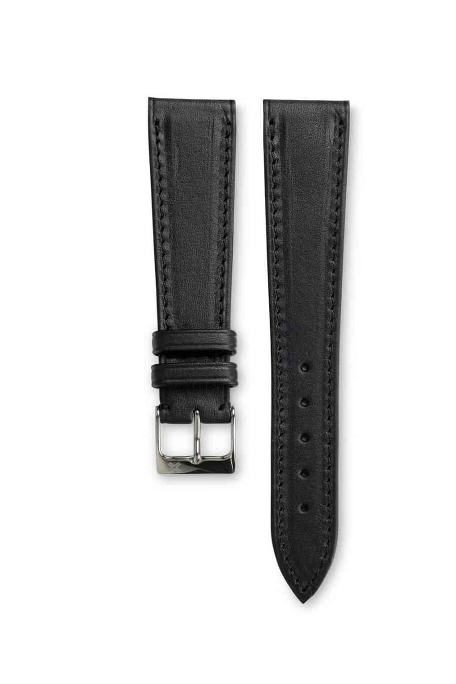 Smooth Barenia Classic deep black leather watch strap - tone on tone stitching - LUGS brand