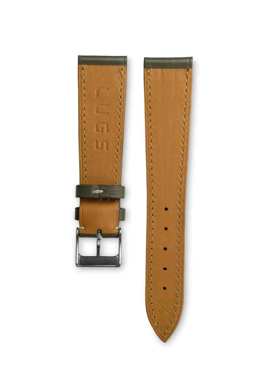 Smooth Classic Khaki green leather watch strap - cream stitching - LUGS brand
