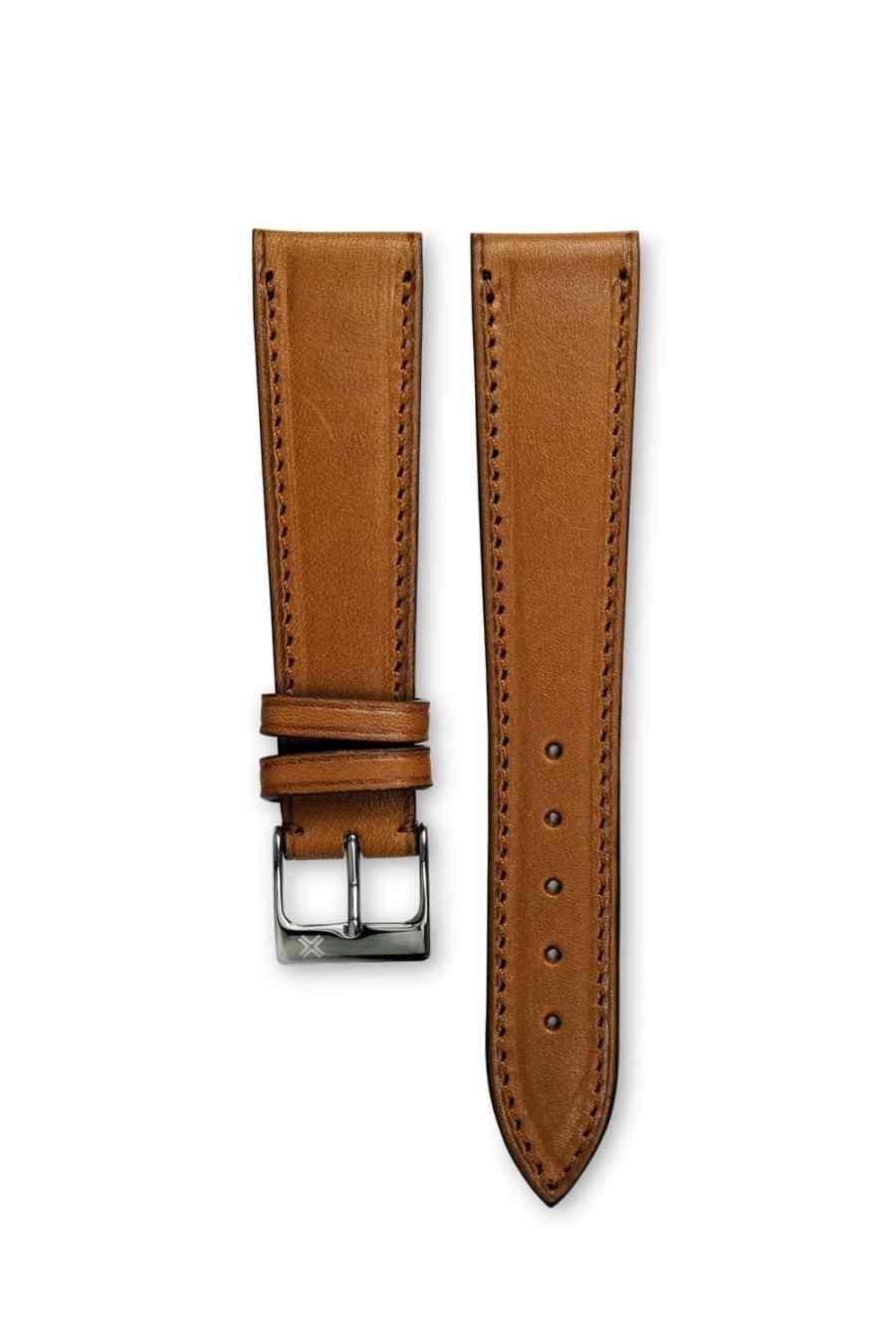 Smooth Classic Barenia light brown tan leather watch strap - tone on tone stitching - LUGS brand