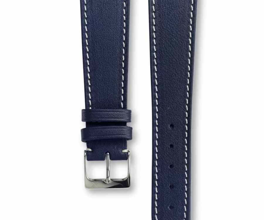 Smooth Classic Navy blue leather watch strap - cream stitching - LUGS brand