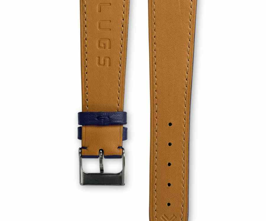 Smooth Classic Navy Blue leather watch strap - tone on tone stitching - LUGS brand