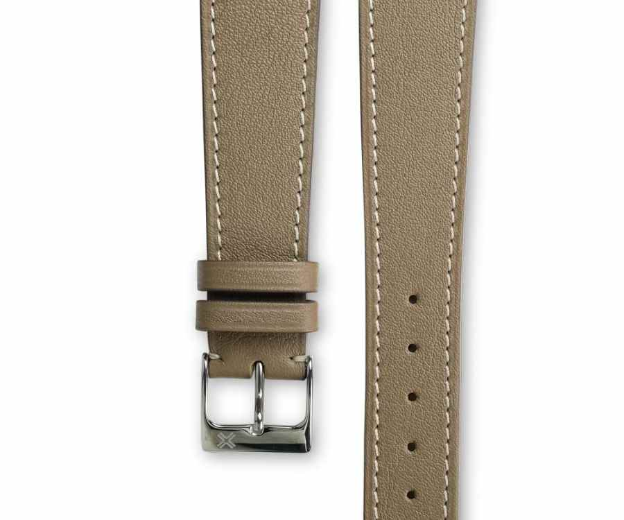 Smooth Classic taupe beige leather watch strap - cream stitching - LUGS brand