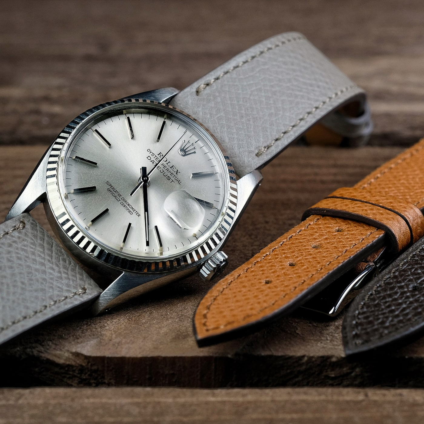 1c81fb3e3 Rolex Datejust vintage oysterdate on a grained calf leather LUGS watch strap