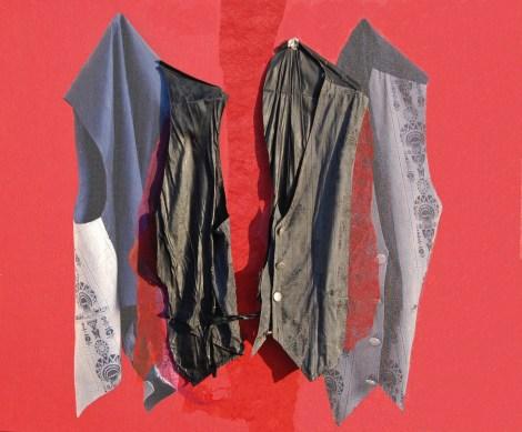 arch.n. 865 gill sfondo rosso gillet resinato + riproduzione fotografica su tela applicata a tavola cm 96 x 116 – anno 2009