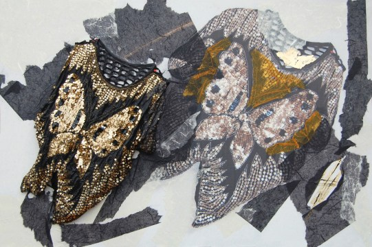 arch.n. 870 farfalla lunare maglia resinata + riproduzione fotografica su tela applicata a tavola cm 80 x 120 – anno 2009