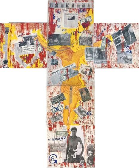 arch.n. 378 Il peso della croce 6 tavole di legno da cm 50x60, collage e pittura (cm200x180)– anno 2001