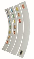 arch.n. 786 Colori 3 quartetto -legno curvo rivestito di alcantara + bronzo e mosaico di perline, cm 145x21 – anno 2005