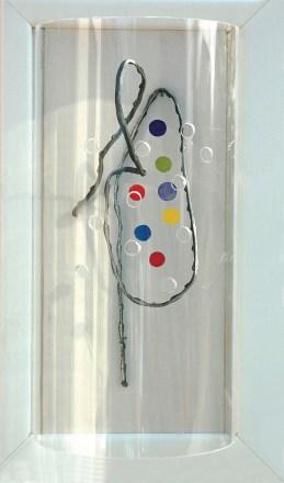 arch.n. 783 Colori 8 Legno, acrilico, ferro, plexiglass, cm 22x38 - anno 2005