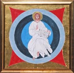 arch.n.117 Cristo risorto, affresco su tela + foglia oro, cm 100x100 – anno 1999