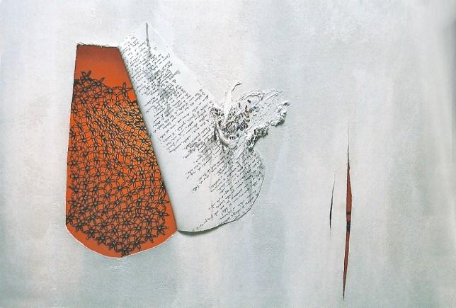 arch.n. 800 Finestra arancio Affresco su tela + ricamo a perline su seconda tela, cm 123x90 – anno 2004