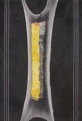 arch.n. 707 In tensione affresco su tavola + rete + foglia oro, cm 41x61 – anno 2004