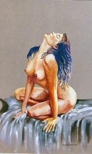 arch.n.129 in acqua, affresco su tela, cm 72x115, anno 2000
