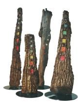 bosco corteccia, carta di riso + ferro smaltato, cm 70 x 240 ca – annoIl 2004