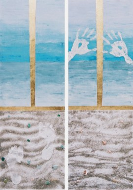 arch.n. 3 solitudine e preghiera dittico affresco su tela, cm 130x40 - anno 1999
