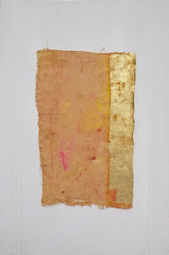arch.n. 708 Spazio quieto affresco su tavola + tela + fogila oro cm 41x61 – anno 2004