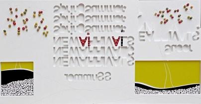 arch. n. 1.222 ViVi collage di PVC, incisione, tessuto, ferro zincato, cm 92,5x185, anno 2015