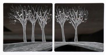 Arch. n. 1.528 Attesa della Luce-Incisione su plexiglas + pittura e perline vetro, cm 18x18 cadauna, 2018