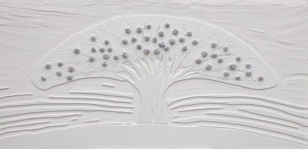Arch. n. 1.554 Albero dai buoni frutti- incisione su PVC+ tessuti compattati e resinati, cm 60x126, 2018