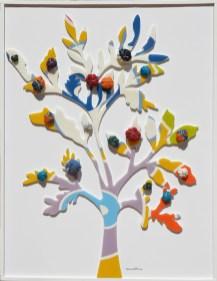 Arch.1.334 Albero del Giardino dai buoni frutti collage di PVC + tessuto compattato con filo ferro zincato e resina cm 72x54, anno 2016