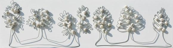 arch 1.369 Alberi del Giardino dai buoni frutti – ferro zincato modellato applicato su PVC+ tessuti compattati con filo ferro zincato e resina, cm 42x152 – anno 2016
