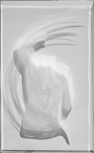 arch.n. 973 Daimon 5 cm 91x55x4,5, incisione su plexiglass + fondo specchiato – 2011– cm 62,5 x 4,5 x h 92 Catalogo ed. Bozzetto e catalogo Art&Media