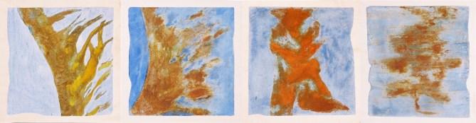 arch.n. 400 Dissoluzione Quartetto -Affresco ad encausto su tela applicata a tavola – cm 36x38, anno 2002