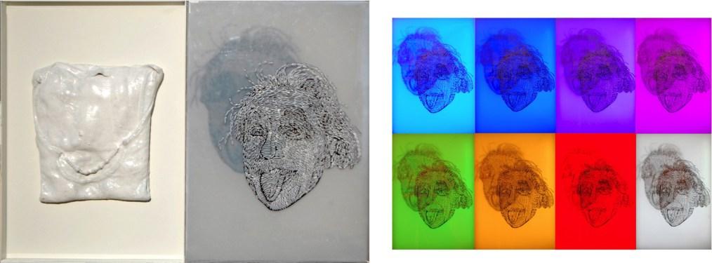 arch.n. 918 DUALITà 1 - M&P 1 vestito resinato su ferro + Plexiglas dipinto + Led a RGB, cm 66x48, 2011