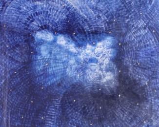 arch.n. 730 Firmamento dell'innocenza rielaborazione digitale + pittura su tela, cm 87x110, anno 2004