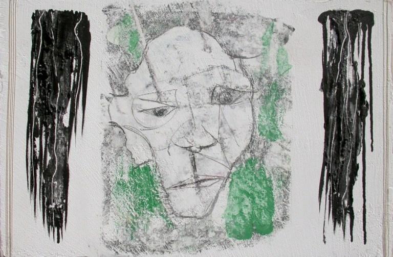 arch.n. 718 Nero transfer su affresco + pastello + acrilico, cm 61x41, anno 2004