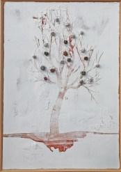Arch. n. 1.536 Albero dai buoni frutti tecnica mista su tavola+ tessuti compattati e resinati, cm 103x73, 2018