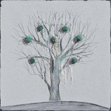Ach. n. 1.491 Albero del Giardino dai buoni frutti – affresco su tavola + tessuti compattati – cm 42x42, 2017