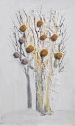 Arch. n. 1.542 Albero dai buoni frutti-affresco su tavola+ tessuti compattati e resinati, cm 44x26, 2018