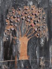 Arch. n. 1.545 Albero dai buoni frutti - affresco su tavola+ tessuti compattati e resinati, cm 80x60, 2018