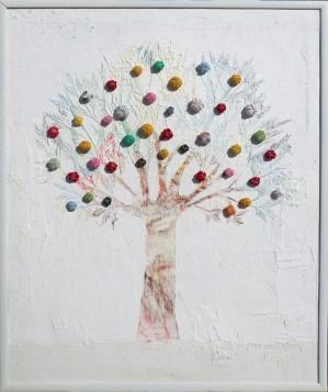 Arch. n. 1.551 Albero dai buoni frutti - affresco su tela+ tessuti compattati e resinati, cm 96x79, 2018