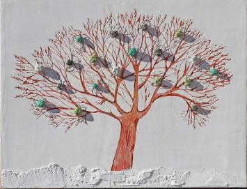 Ach. n. 1469 Albero del Giardino dai buoni frutti – affresco su tavola + tessuti compattati – cm 60x80, 2017