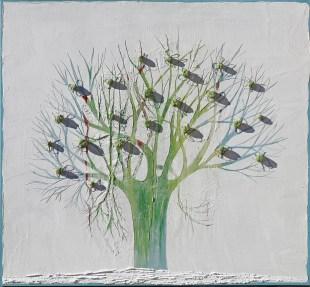 Ach. n. 1474 Albero del Giardino dai buoni frutti – affresco su tavola + tessuti compattati – cm 100x 110, 2017